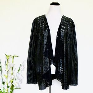 Chico's Laser Cut Faux Leather Drape Front Jacket